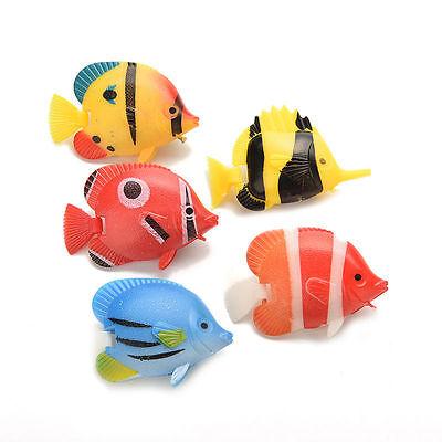 5x Plastic Artificial Swimming Fake Vivid Fish Ornament for Aquarium Tank FY Eu