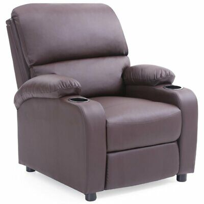 Pemberly Row Faux Leather Recliner with 2 Cup Holder in Blac