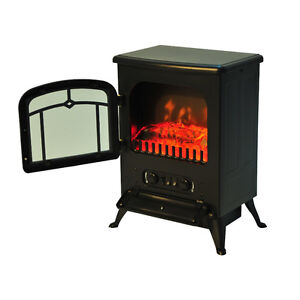 Portable 1500W Electric Fireplace with Remote Control Firebox