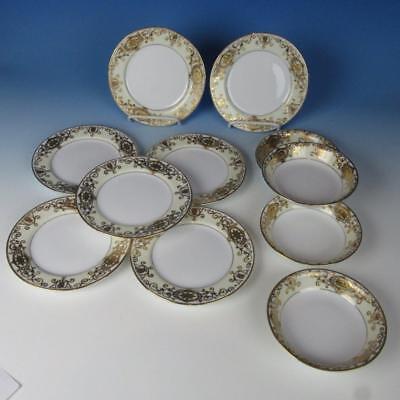 Noritake China 175 Gold Ball Christmas Ornament - 7 Bread Plates, 4 Berry Bowls