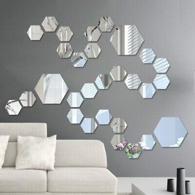 Acrylic Mirror Effect Tile Wall Sticker Room Decor Stick On Art Bathroom DIY