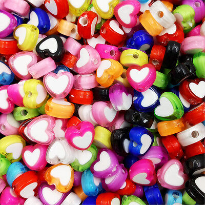 Heart Beads (100 Pcs Wholesale Heart Acrylic Beads Jewelry Making Handmade 12 Colors)