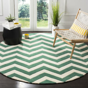 NEW Safavieh 100% Wool Ivory & Green Moroccan 7' Round Area Rug