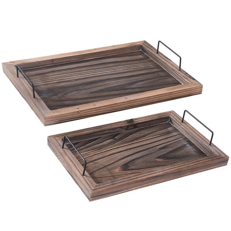 Serving Tray Set Vintage Ottoman Trays Rustic Wood Decorativ