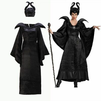 Maleficent Deluxe Evil Queen Cosplay Costume Halloween Outfit Fancy Dress