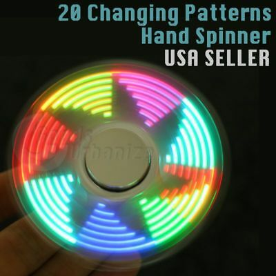 LED Pattern Finger Hand Spinner* Stress Relief Fidget Toy EDC Rave Light - Finger Light Show