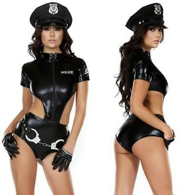 Ladies Woman Black Cop Police Uniform Sexy Bodysuit Halloween Costume Outfit](Police Woman Halloween Outfits)