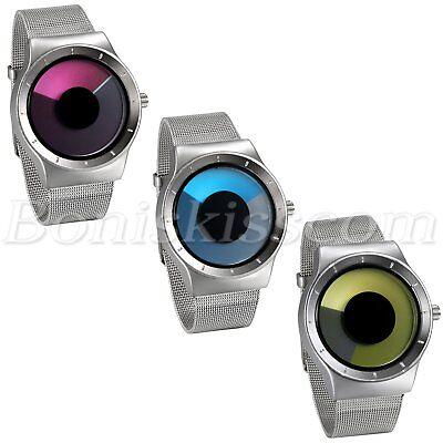 Men's Creative Stainless Steel Mesh Band Unique Vortex Dial Quartz Wrist (Band Mesh Wrist Watch)