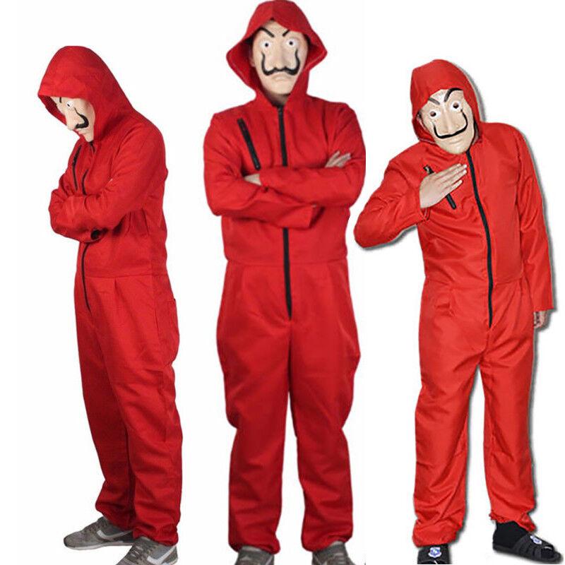 Salvador Dali La Casa De Papel Money Heist Red Jumpsuit Mask