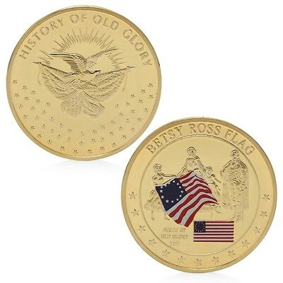 Betsy Ross Flag History Of Old Glory Golden Commemorative Challenge Coins Gift