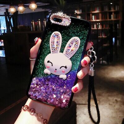 Bling Diamond Dynamic Liquid Glitter Quicksand Rabbit Stand Case Cover Best