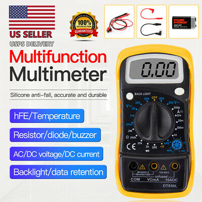 Digital Voltmeter Ammeter Ohmmeter Multimeter Volt Ac Dc Tester Meter Usa