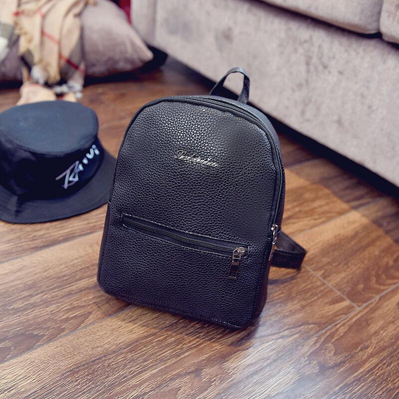 092e37d26f6f Women PU Leather Backpacks Mini Cute Travel Rucksack Handbags School Bag  Simple