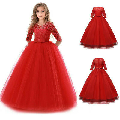 Red Lace Princess Girl Flower Dress Party Wedding Formal Gown Child Kids Clothes Cherry Girls Dress