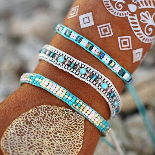 Women Bangles Bracelets Multi-layer Handmade Agate Chain Acc