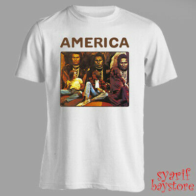 America America Album Rock Band Men's White T-Shirt Size S M L XL 2XL 3XL Album White T-shirt