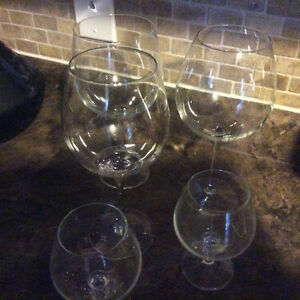 Glasses wine and brandy liquer glasses