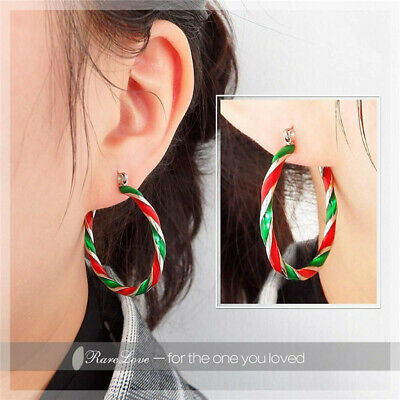 Fashion Christmas Enamel Earrings Women Drop Dangle Ear Hook Studs Xmas Gift ()
