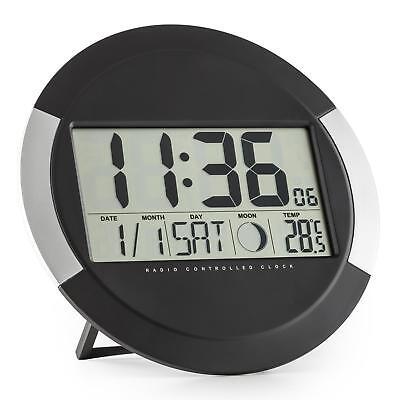 Funk-Wanduhr Zeit Kalender Temperatur Stand- oder Wandmontage schwarz-silber