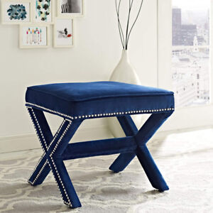 Modern Bench With Navy Velvet Upholstery and Nailhead Trim