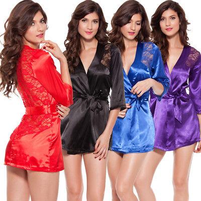 - Sexy Lingerie Women Satin Lace Silk Underwear Babydoll Nightdress Sleepwear Robe
