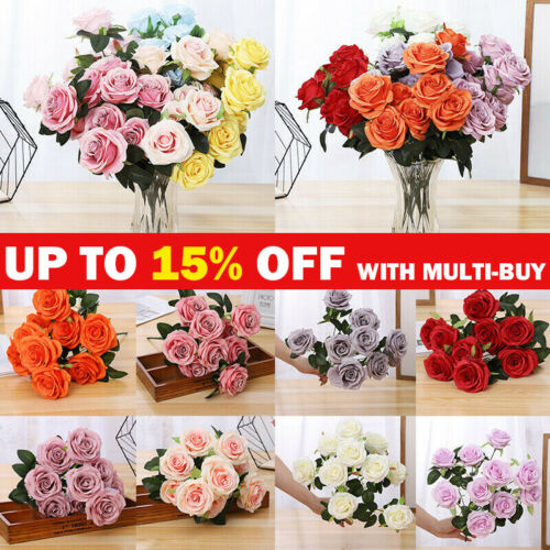 Home Decoration - 10 Heads Silk Rose Artificial Flowers Fake Bouquet Buch Wedding Home Party Decor