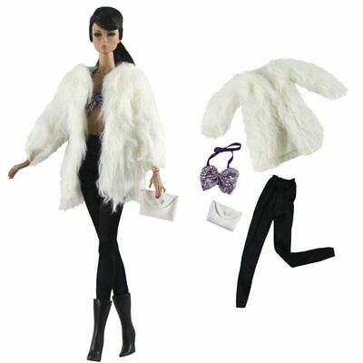 """Doll Accessories Set Fashion Clothes Fur Coat Pants For 11.5"""" 1/6 Doll Purse Toy"""
