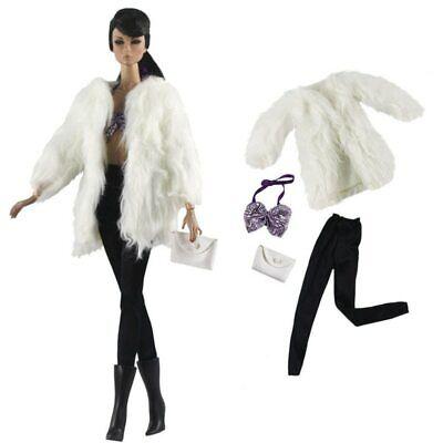 Doll Accessories Set Fashion Clothes Fur Coat Pants For 11.5