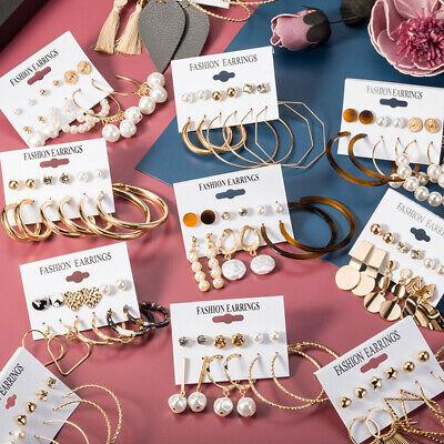 Women Pearl Crystal Geometric Earring Set Tassel Ear Hook Hoop Stud Earrings