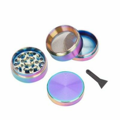4-Piece 40mm Rainbow Stainless Steel Spice Herb Grinder Cylinder Tobacco Mill US ()