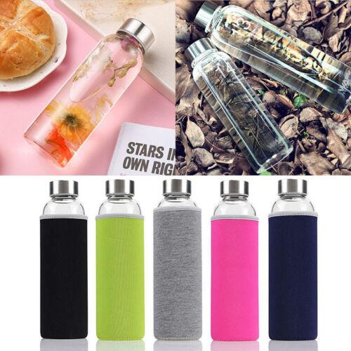 550ml Glasflasche Getränk Trinkflasche Wasserflasche mit Flaschenhülle Sport Nue