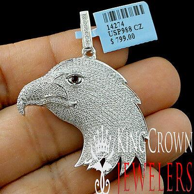 10K White Gold Silver Lab Diamond American Eagle Bird Pendant Mens Pave Charm