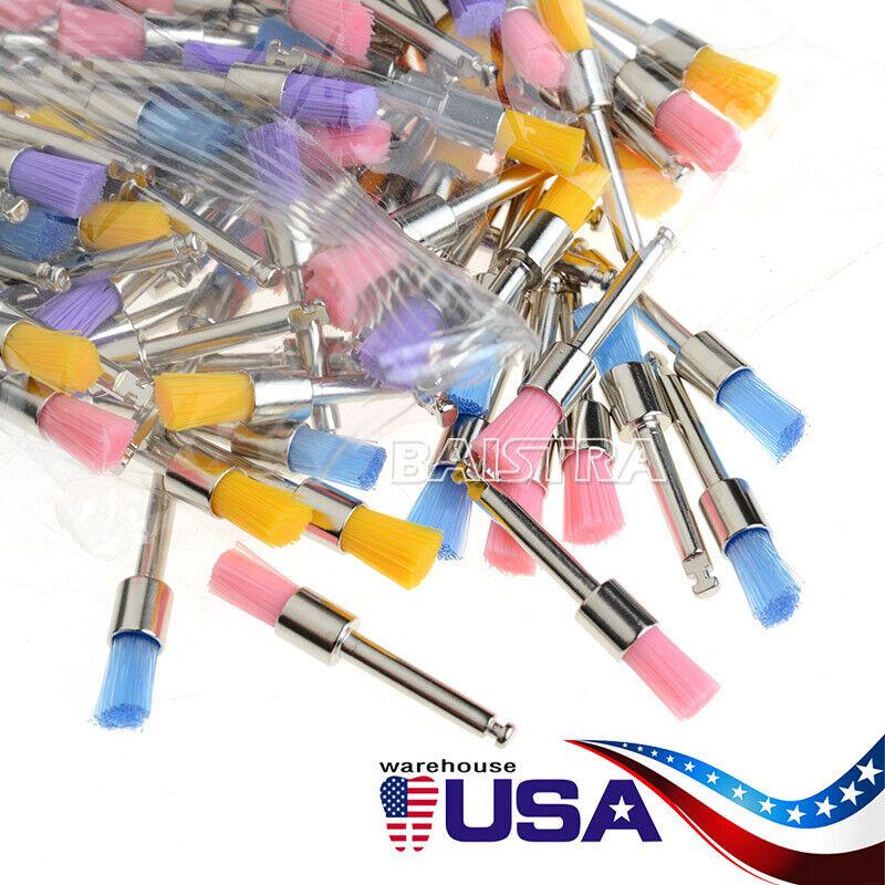 100 Brush Prophy Polisher Brush Latch Flat Type (RA)Nylon Bowl Polishing Dental