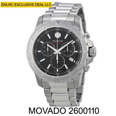 BOX SET Movado Series 800 Black Dial Stainless Steel Quartz Mens Watch 2600110