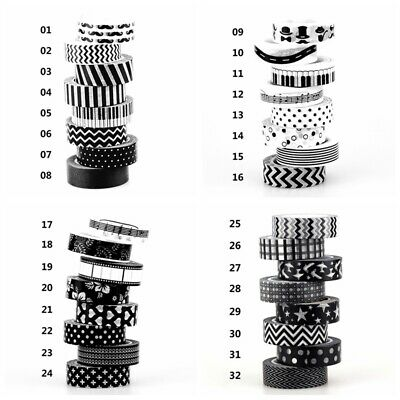 10m Black & White Washi Tape Set DIY Planner Masking Tapes School Office - Washi Tape Cheap