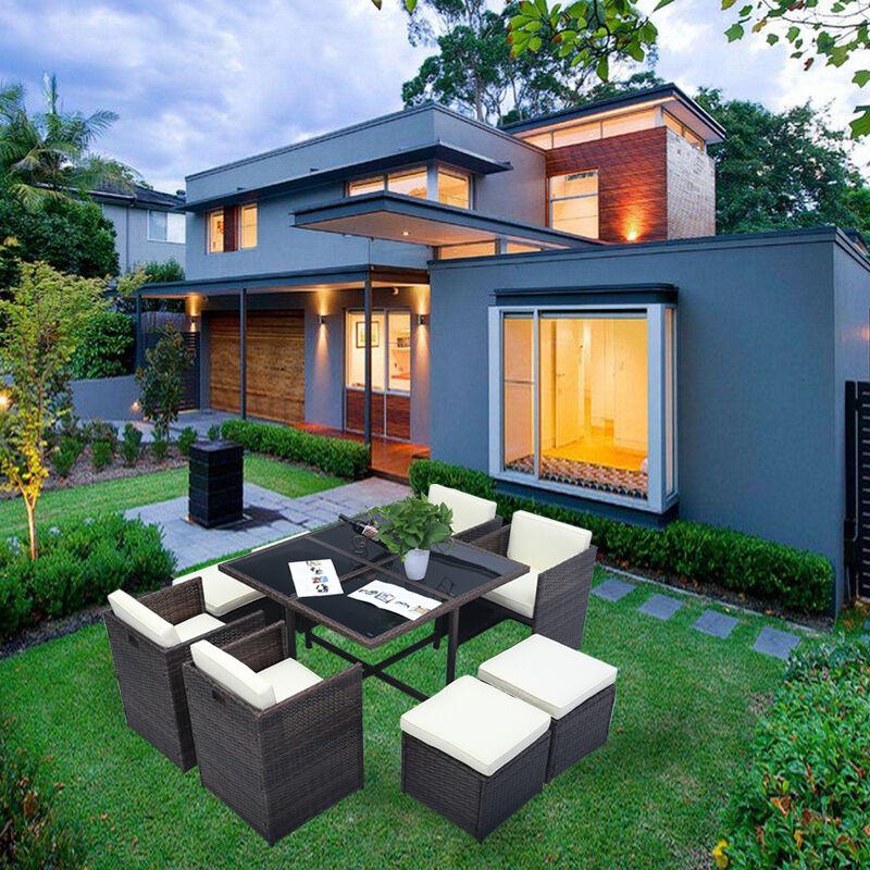 gartenset poly rattan sitzgarnitur garten m bel lounge sitzgruppe essgruppe ebay. Black Bedroom Furniture Sets. Home Design Ideas