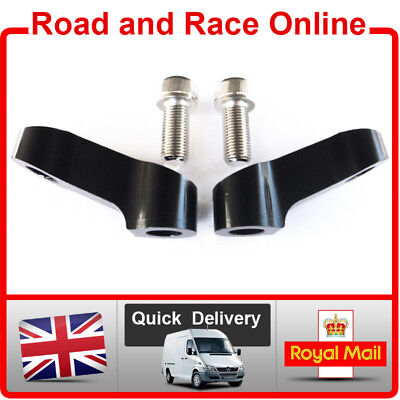 PAIR BLACK MIRROR EXTENDERS RISERS FOR MOST TRIUMPH MODELS WITH 10MM