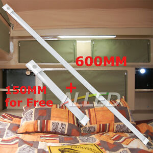 12V RV 600mm LED Cool White Strip Light Fluorescent Lamp with Touch Switch