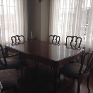 Antique table and chairs and china cabinet - drexter