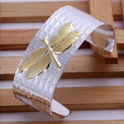 New 925Sterling Solid Silver Jewelry Gold Dragonfly Cuff Bangles Bracelet -