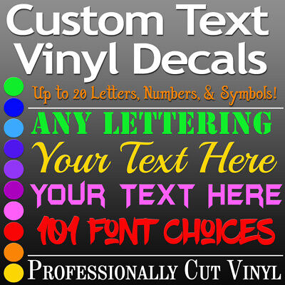(CUSTOM TEXT Vinyl Lettering Decal Personalized Sticker Wall Window Name City USA)