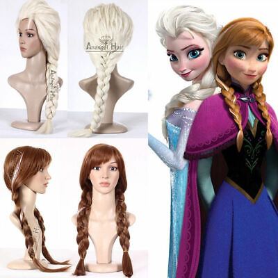 Princess Snow Queen Elsa Anna Wig Blonde Costume Wigs Synthetic Long Large - Princess Anna Wig