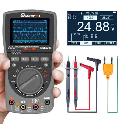 Upgraded Mustool Mds8207 40mhz 200msp Digital Oscilloscope Multimeter Scopemeter