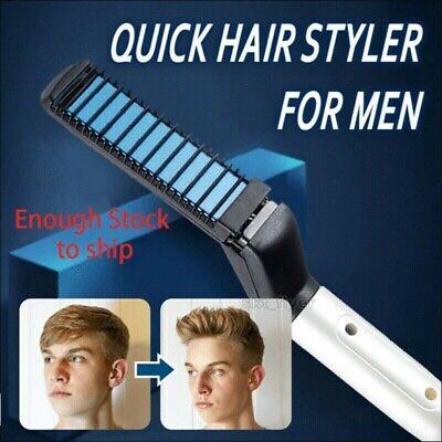 Quick Hair Straightener Men Multifunctional Curling Electric Brush Beard Comb US