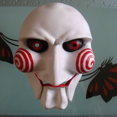 Scary Movie Saw Killer Resin Full Face Mask Cosplay Halloween Party Props 9 inch](Saw Face Halloween)
