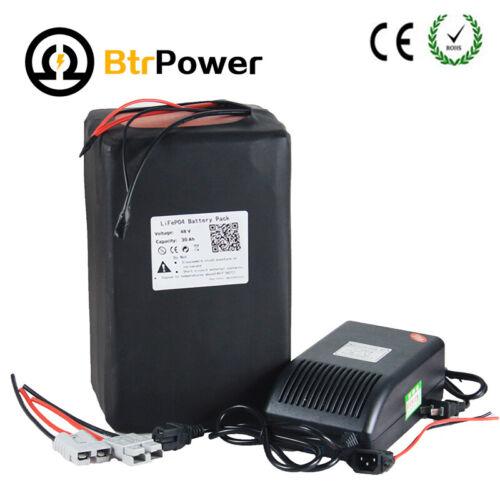 BtrPower 48V 30Ah Lithium lifepo4 Li-lon Battery Pack For 1500W Ebike Motor US