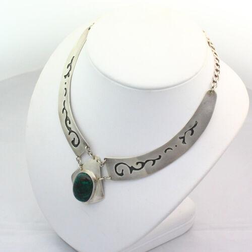 Vintage Stamped Israel Sterling Silver Azurite Choker Necklace