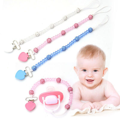 Cute Toddler Baby Pacifier Clips Crystal Soother Chain Dummy Nipple Leash Strap Crystal Baby Pacifier