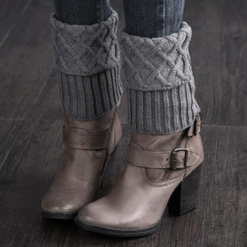 Damen Rhombus Strick Gehäkelt Stiefel Stulpen Beinstulpen Beinwärmer Winter Warm