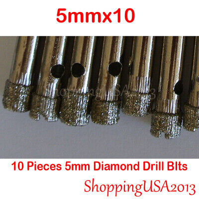 10Pcs 5mm Diamond Coated Drill Bit Set Hole Saw Cutter Metal Tool Glass Tile* Metal Diamond Tile
